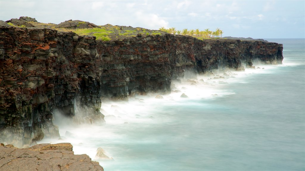 Hawaii Volcanoes National Park which includes general coastal views and rugged coastline