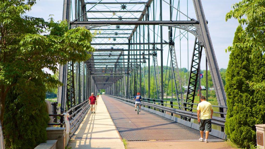 Harrisburg showing a bridge, hiking or walking and a river or creek