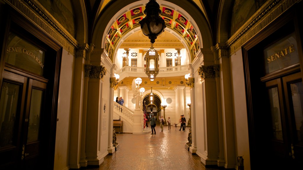Pennsylvania State Capitol showing interior views and heritage elements as well as a small group of people
