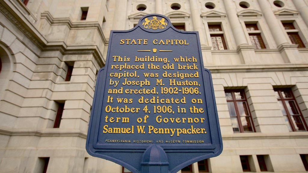 Pennsylvania State Capitol showing heritage elements and signage