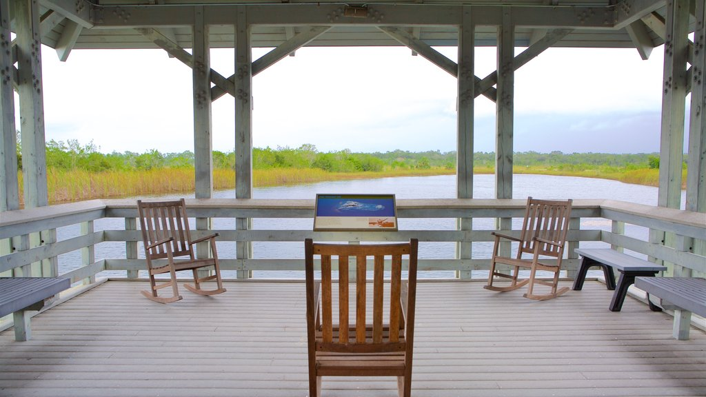 Ernest F. Coe Visitor Center showing views, wetlands and a lake or waterhole