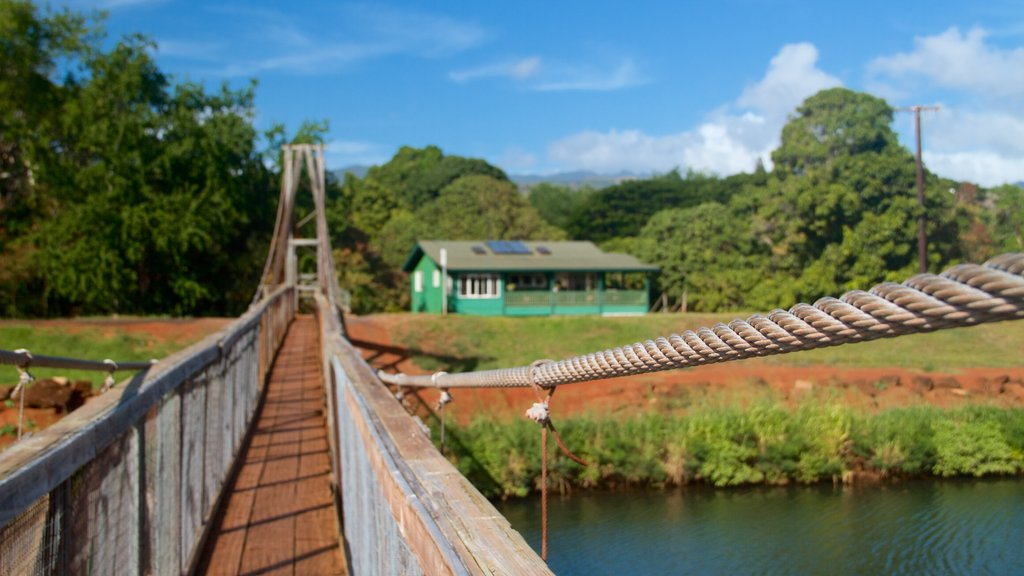 Swinging Bridge which includes a house, a bridge and a river or creek
