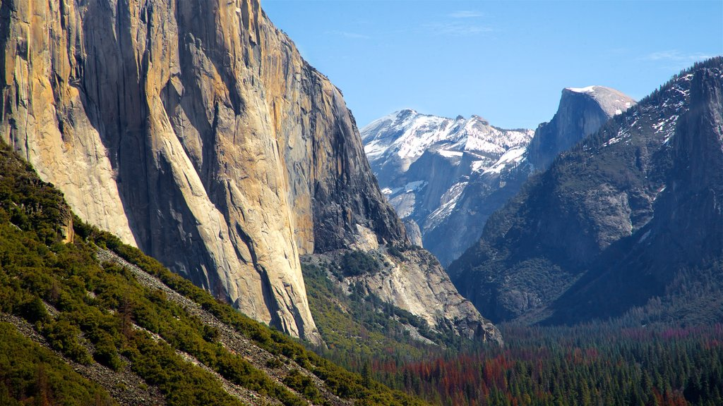 Tunnel View which includes landscape views, tranquil scenes and a gorge or canyon
