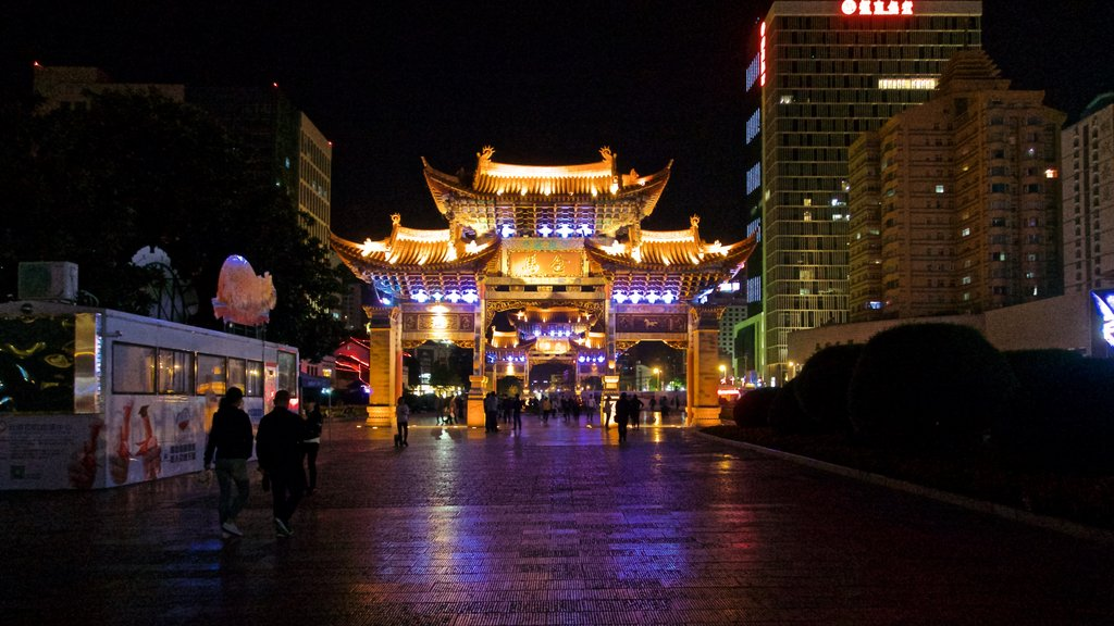 Kunming showing heritage architecture, a city and night scenes