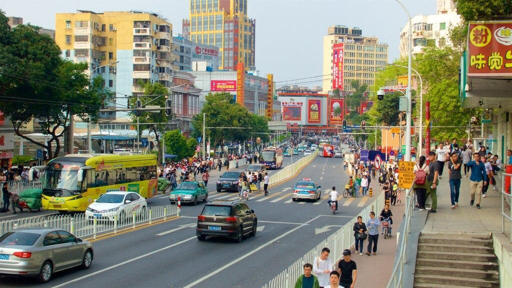 Tianhe que incluye un edificio de gran altura, señalización y distrito financiero central