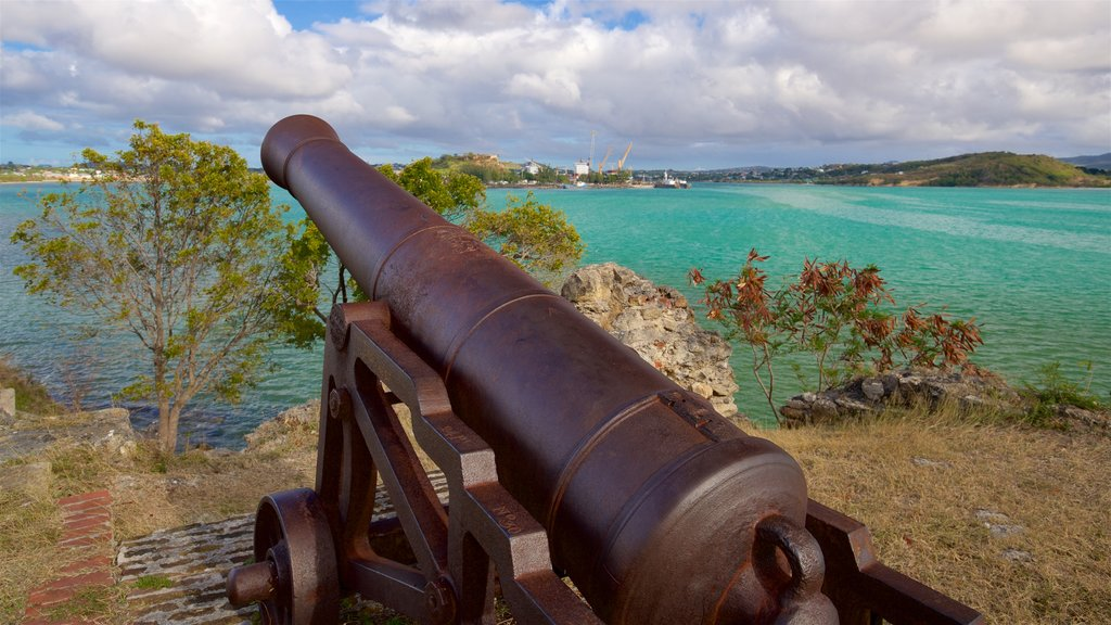 Fort James featuring heritage elements, military items and general coastal views