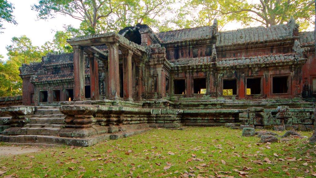 Angkor Wat ofreciendo elementos del patrimonio, un templo o lugar de culto y un jardín