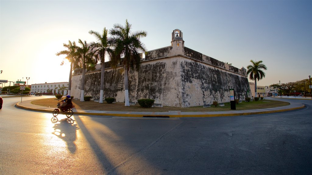 Campeche which includes heritage architecture and a sunset