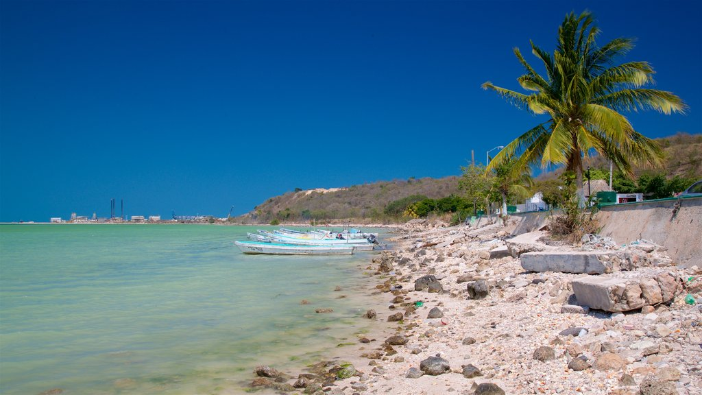 Seybaplaya which includes tropical scenes, general coastal views and rocky coastline