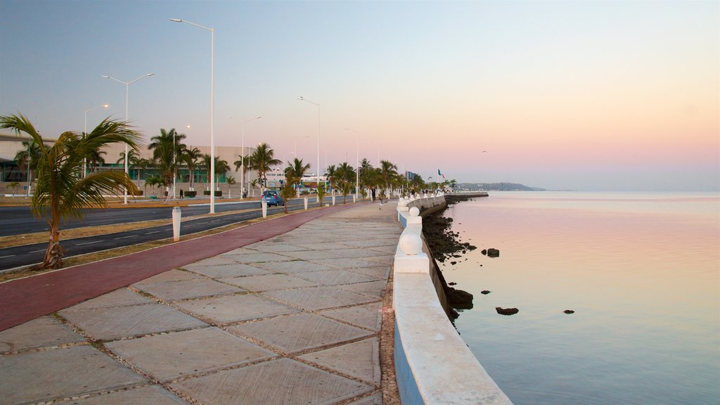 Campeche Waterfront Promenade featuring general coastal views and a sunset