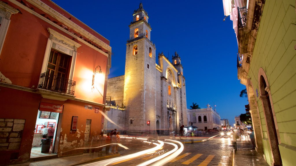 Merida Cathedral showing heritage architecture and night scenes