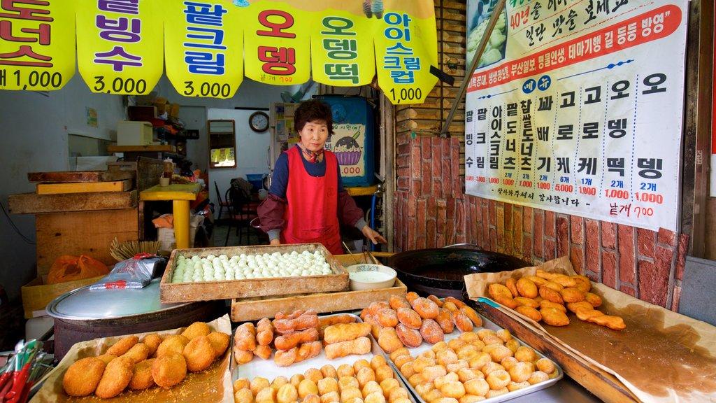Distrito Jung que incluye mercados y también una mujer