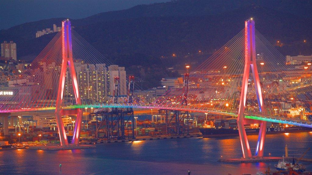 Busan mostrando escenas nocturnas, un puente y un río o arroyo
