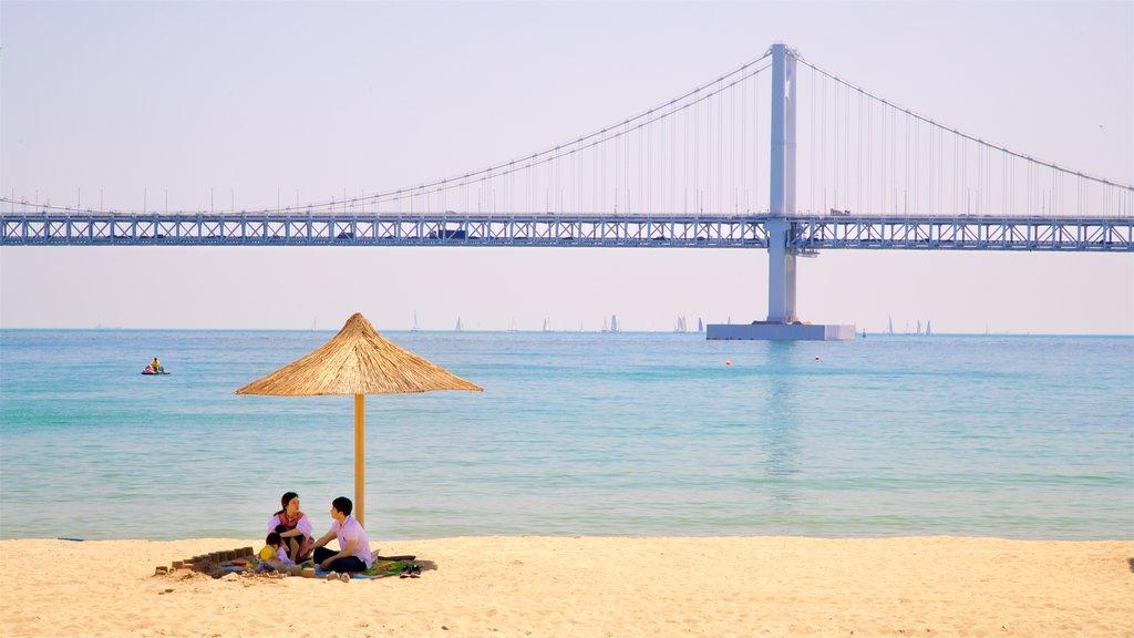 Playa de Gwangalli mostrando un puente, vistas generales de la costa y una playa