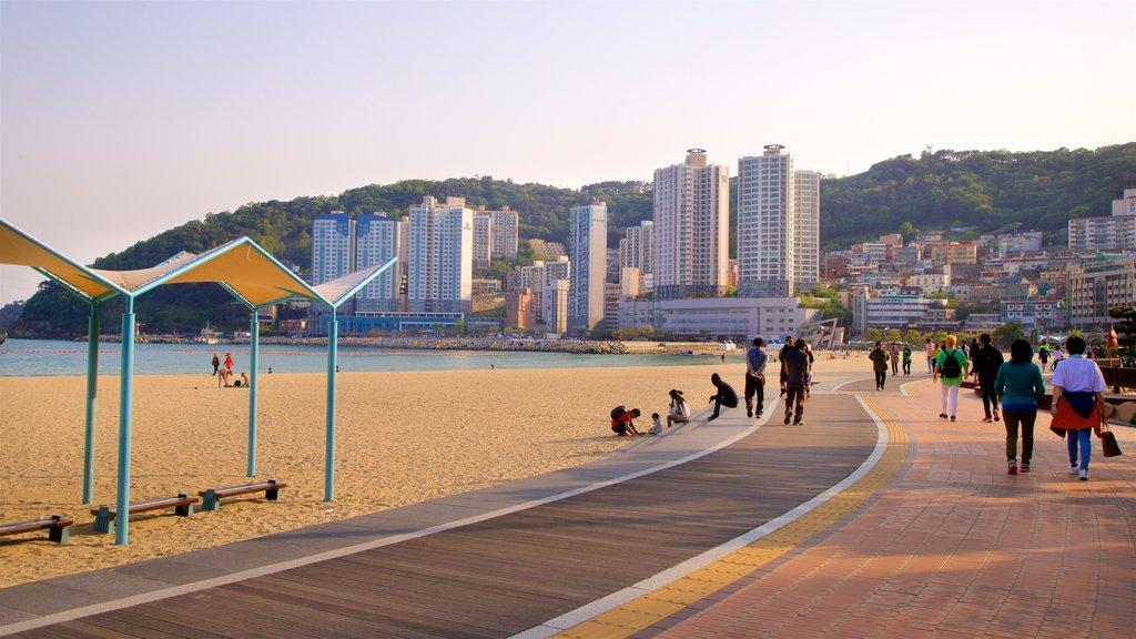 Playa de Songdo ofreciendo una playa, una ciudad costera y una puesta de sol