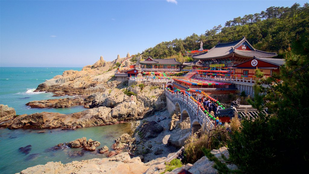 Haedong Yonggung Temple featuring heritage elements, rugged coastline and a bridge