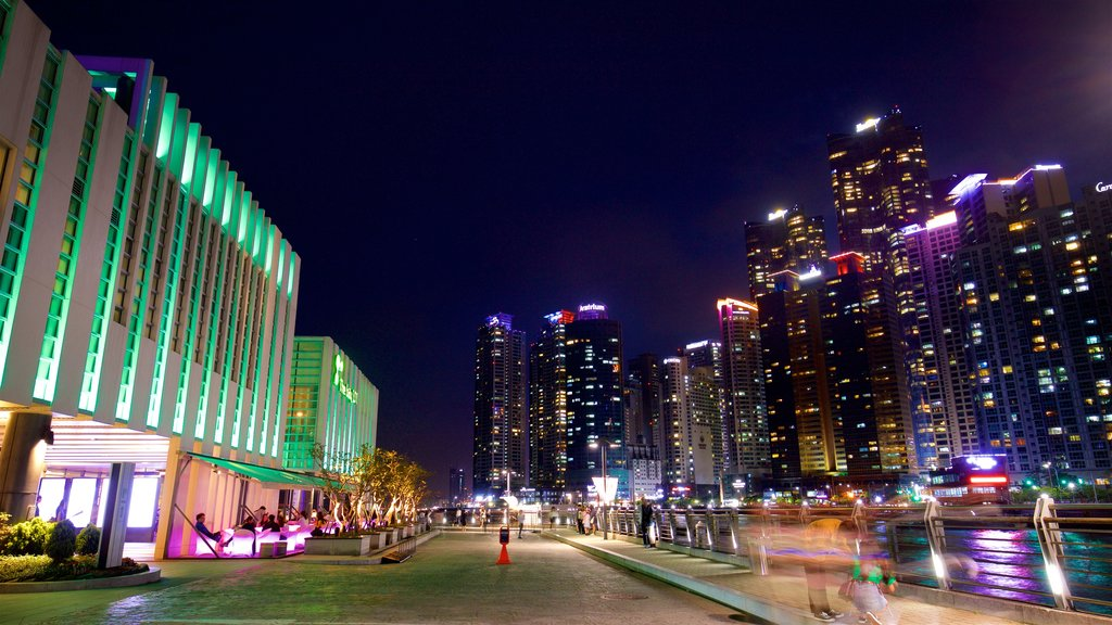 Busan showing night scenes and a city
