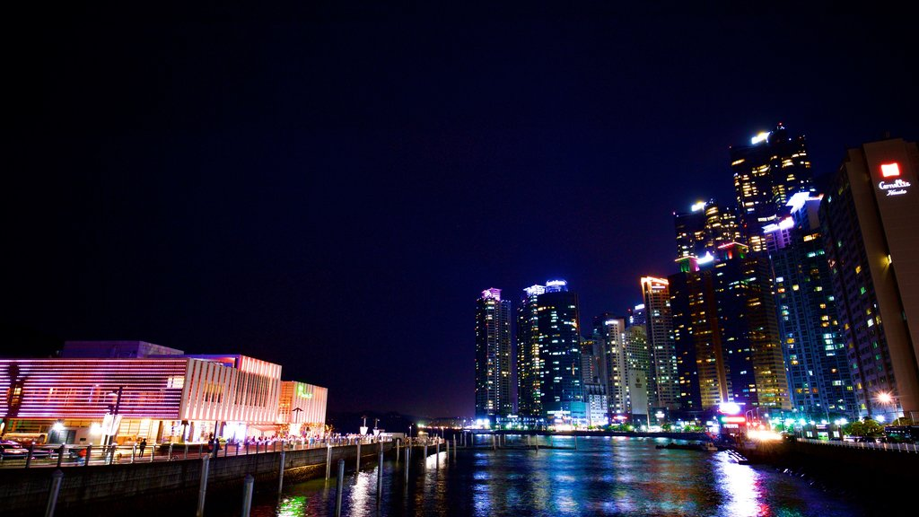 Busan showing night scenes, a city and a river or creek