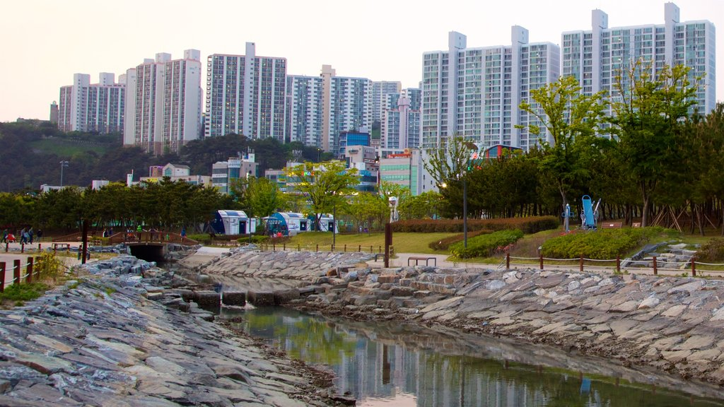 Busan featuring a city, a park and a river or creek