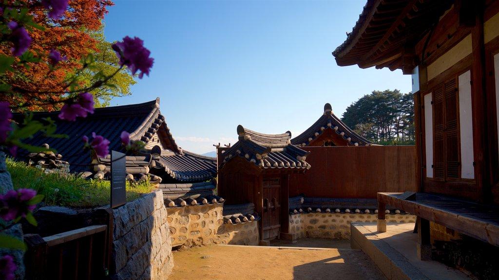 Casa de Gangneung Seongyojang que incluye elementos del patrimonio, una puesta de sol y flores silvestres