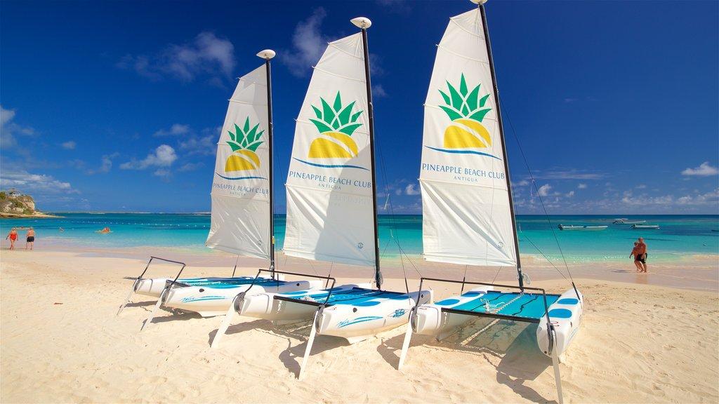 Antigua featuring general coastal views, a beach and signage