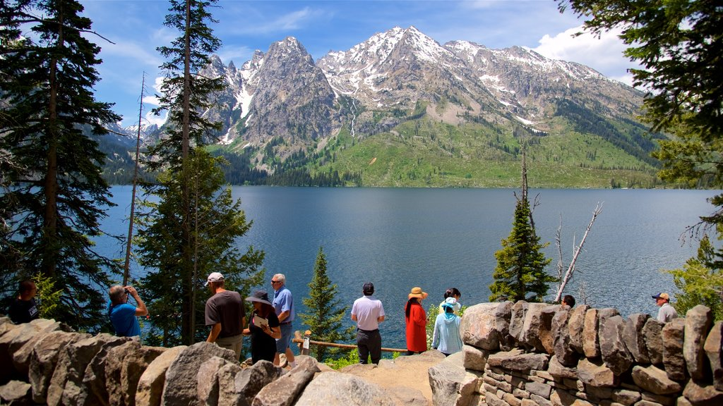 Jenny Lake which includes a lake or waterhole and mountains as well as a small group of people