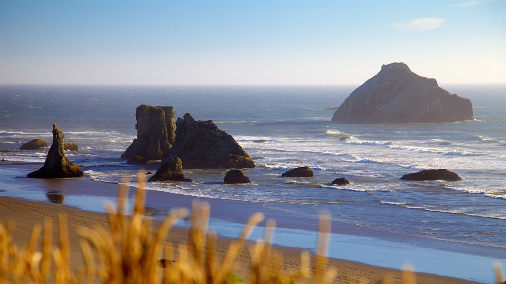 Oregon Coast which includes rocky coastline, a sunset and a sandy beach