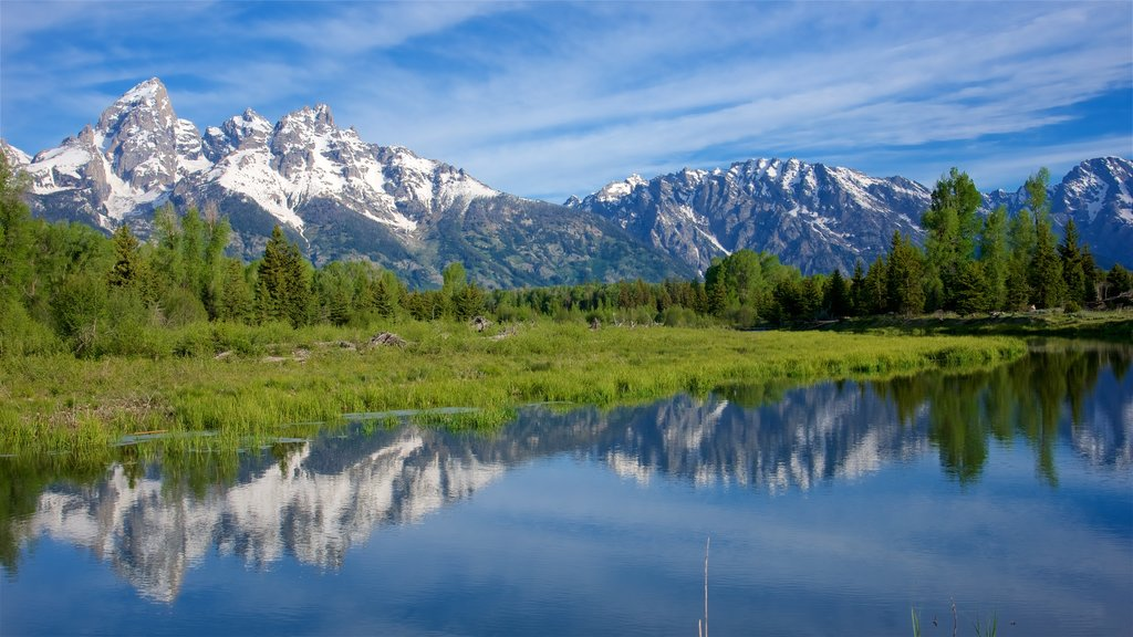 Schwabacher\'s Landing showing tranquil scenes, a river or creek and mountains