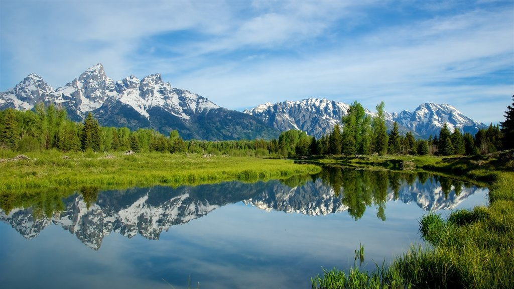 Schwabacher\'s Landing showing mountains, landscape views and a river or creek