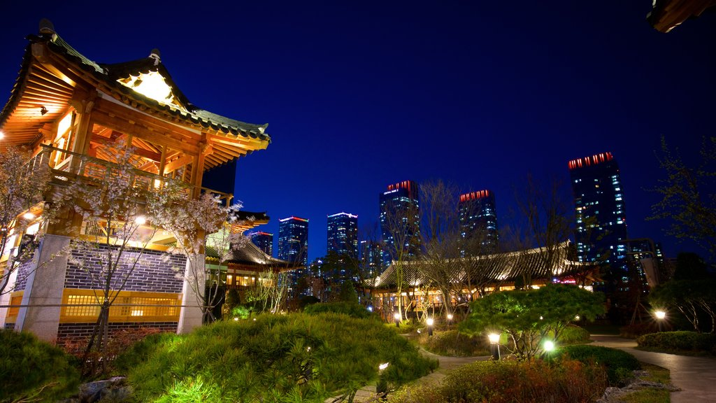 Incheon featuring a city, night scenes and heritage elements