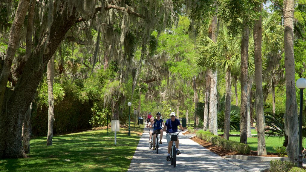 Jekyll Island featuring cycling and a garden as well as a small group of people
