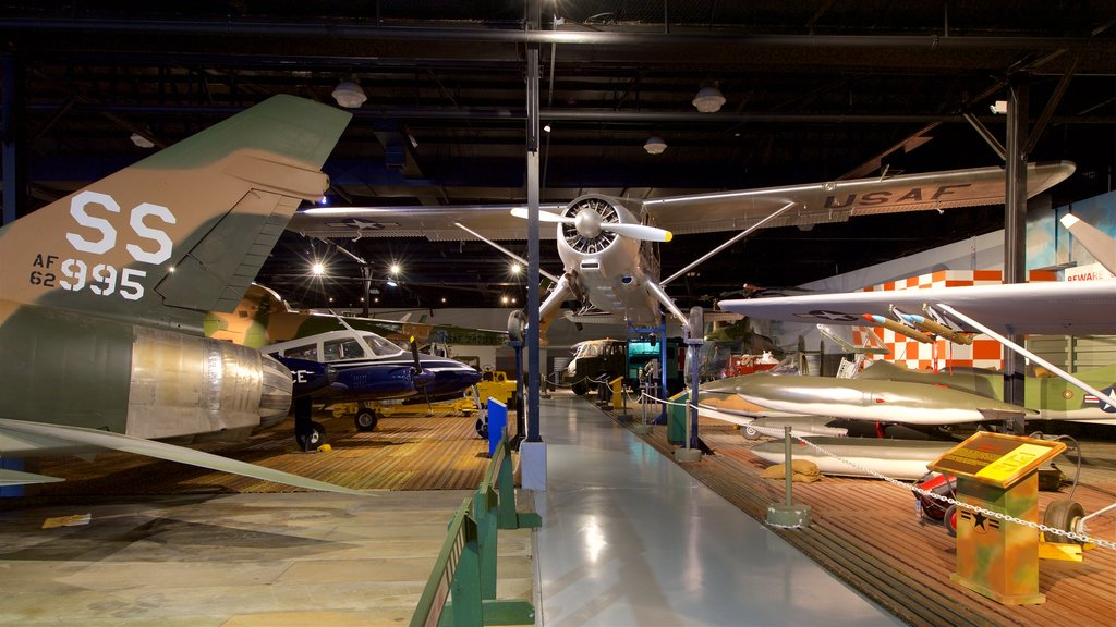 Warner Robins Museum of Aviation which includes heritage elements, military items and interior views