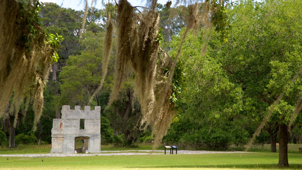 Fort Frederica National Monument showing building ruins, a park and heritage elements