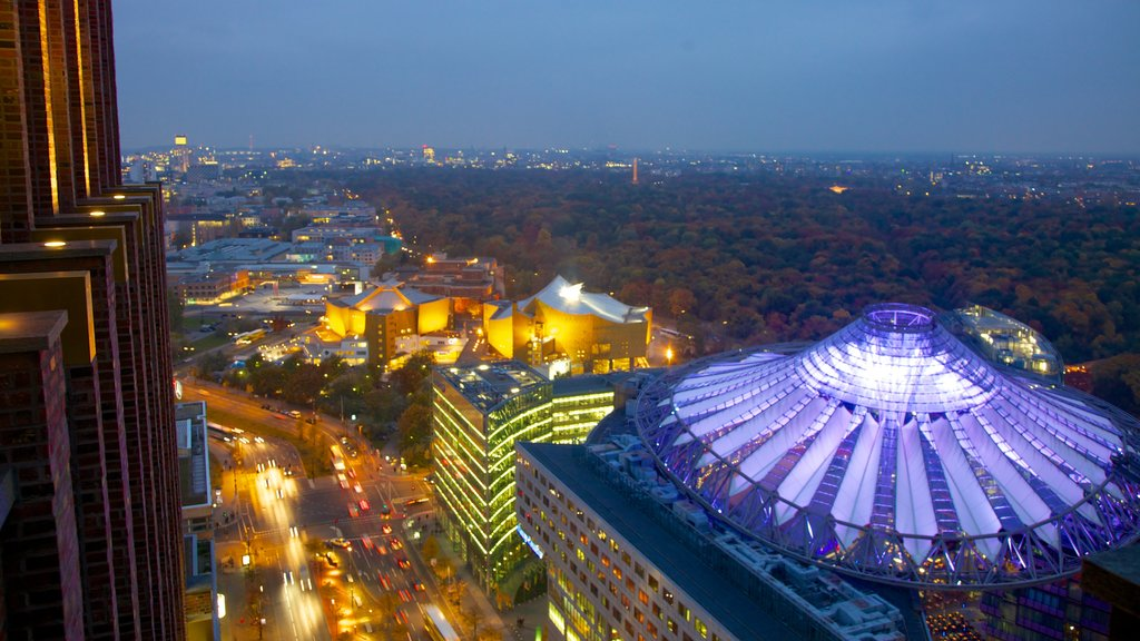 Potsdamer Platz featuring modern architecture, nightlife and a city