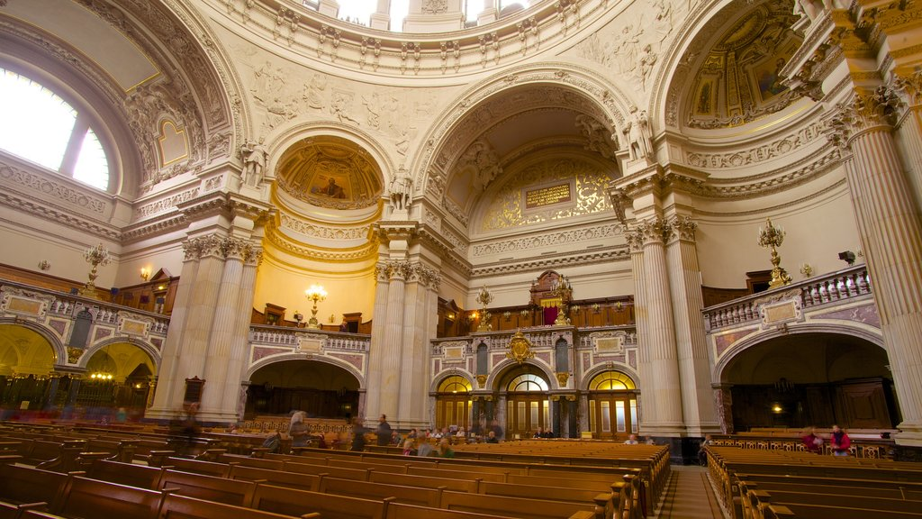 Berlin Cathedral featuring a church or cathedral, interior views and religious elements