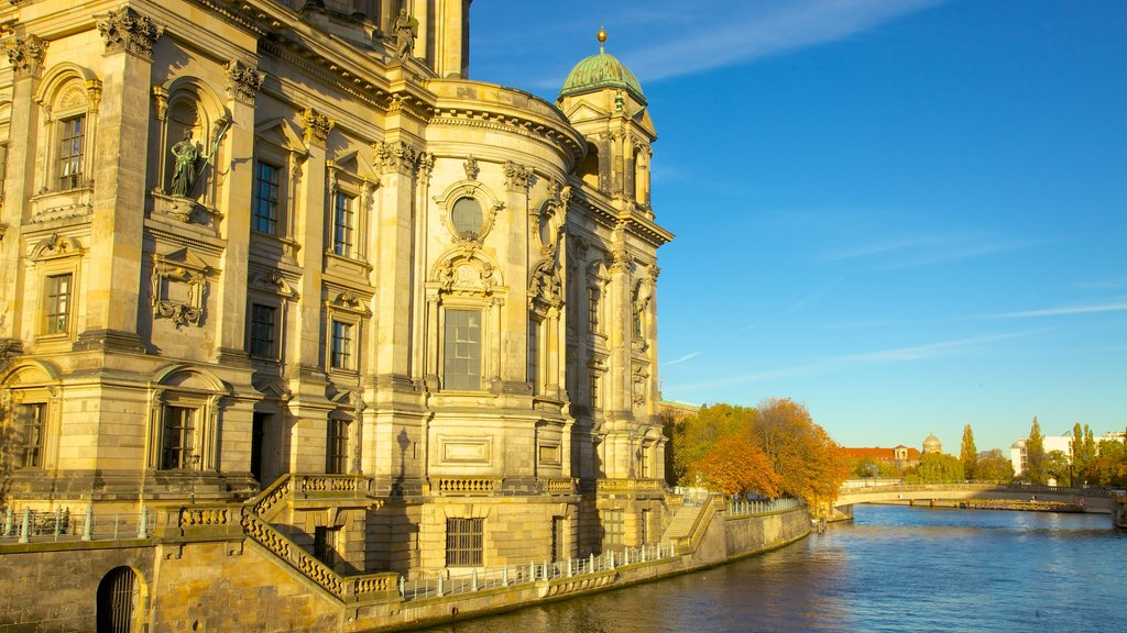 Berlin Cathedral which includes a church or cathedral, a city and heritage architecture