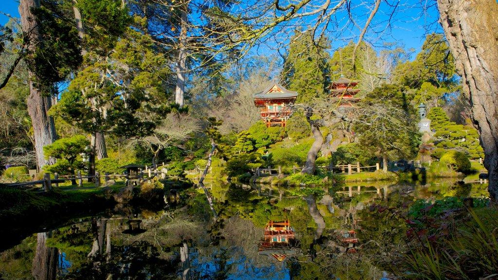 Jardín de Té Japonés mostrando un jardín, un estanque y vistas de paisajes