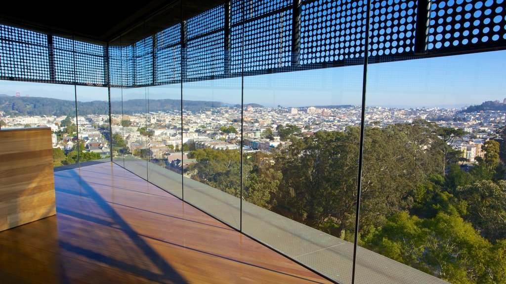 De Young Museum featuring interior views, a city and art