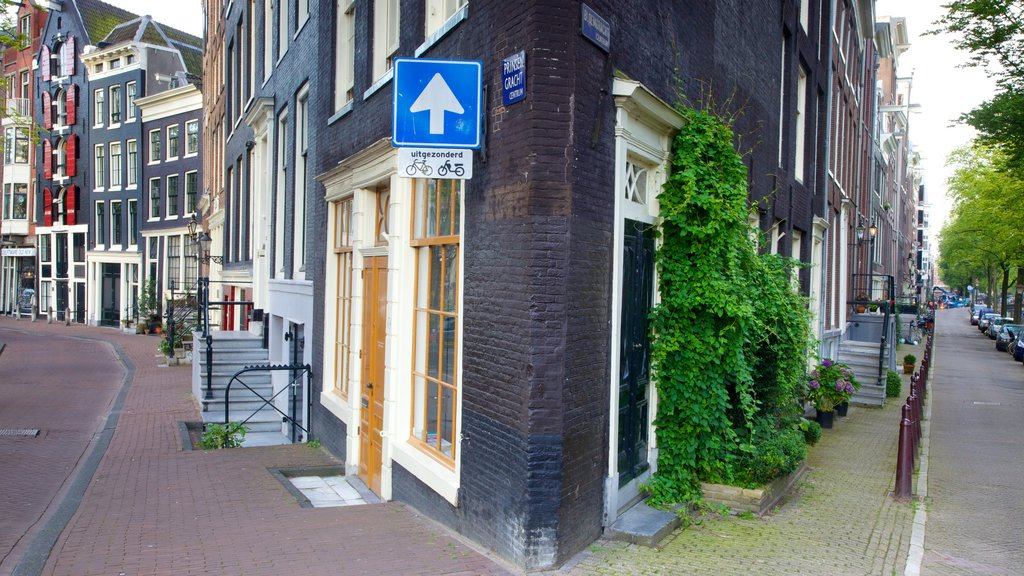 Amsterdam showing street scenes and signage