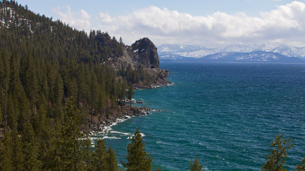 Lake Tahoe featuring mountains and landscape views