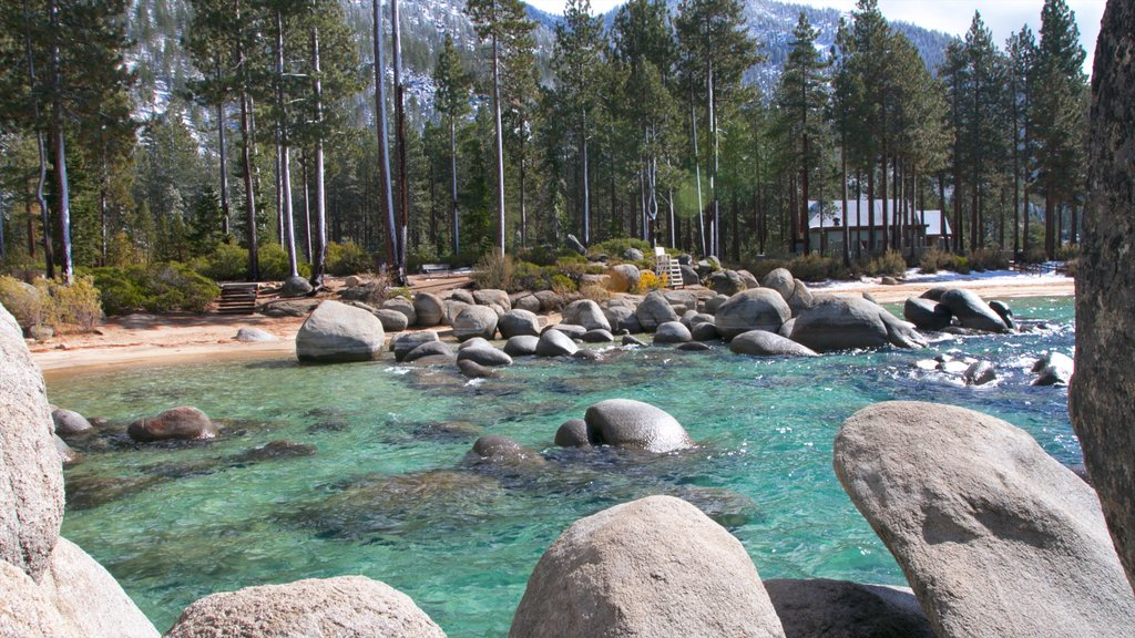Lake Tahoe showing a pebble beach, a river or creek and landscape views