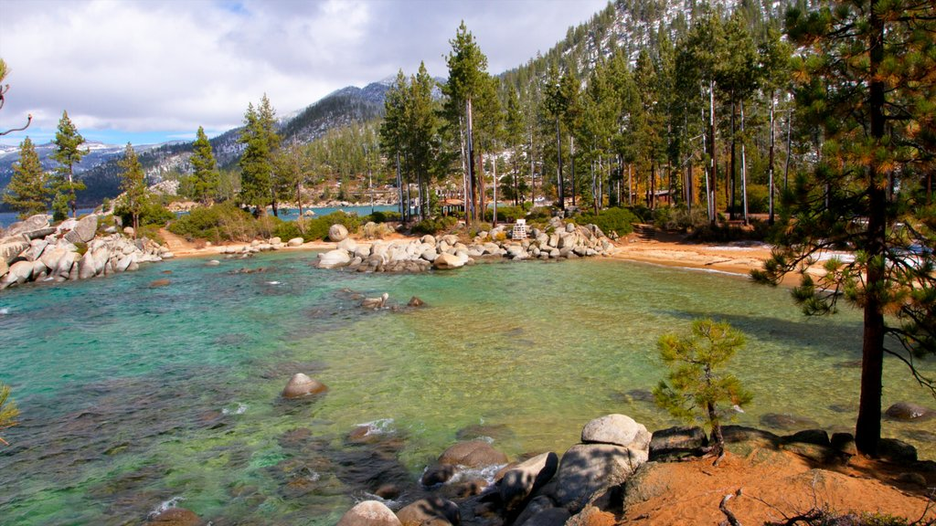 Sand Harbor of Lake Tahoe Nevada State Park featuring forest scenes, mountains and landscape views