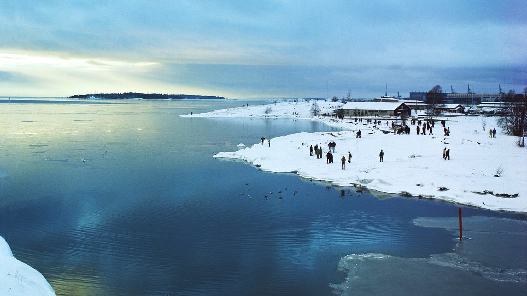 Helsinki featuring snow, general coastal views and landscape views