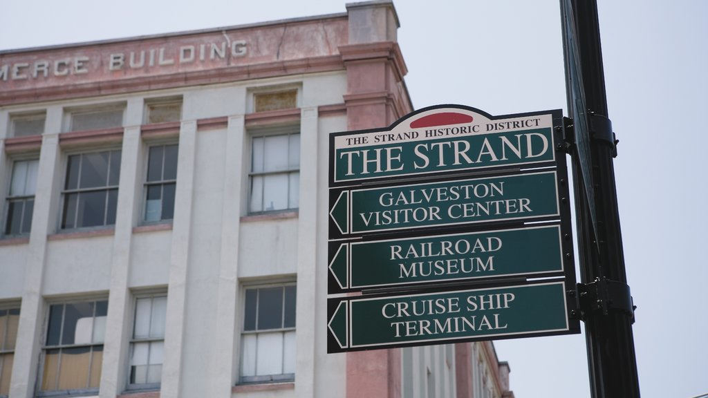Galveston featuring signage and heritage architecture
