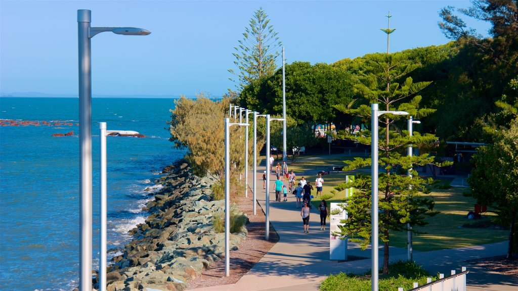 Brisbane which includes a park, general coastal views and rugged coastline