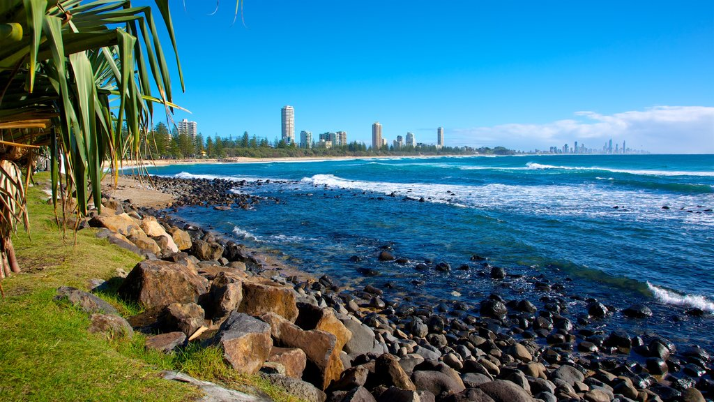 Gold Coast which includes general coastal views, rocky coastline and a city