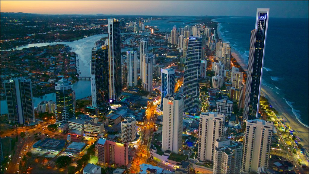 Surfers Paradise which includes general coastal views, a coastal town and night scenes