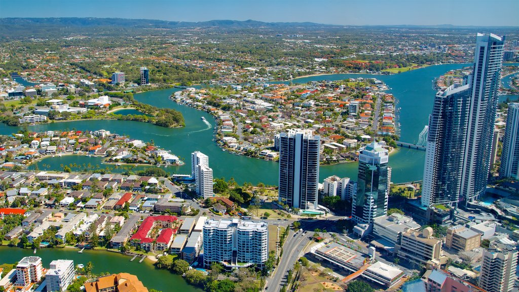 Surfers Paradise which includes a city, a skyscraper and a river or creek