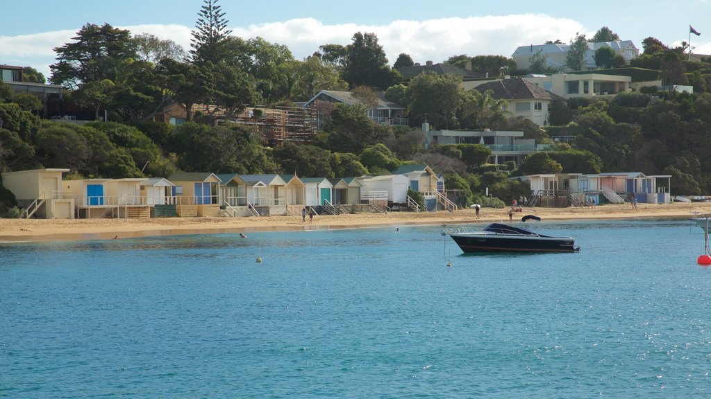 Portsea showing a sandy beach, general coastal views and a coastal town