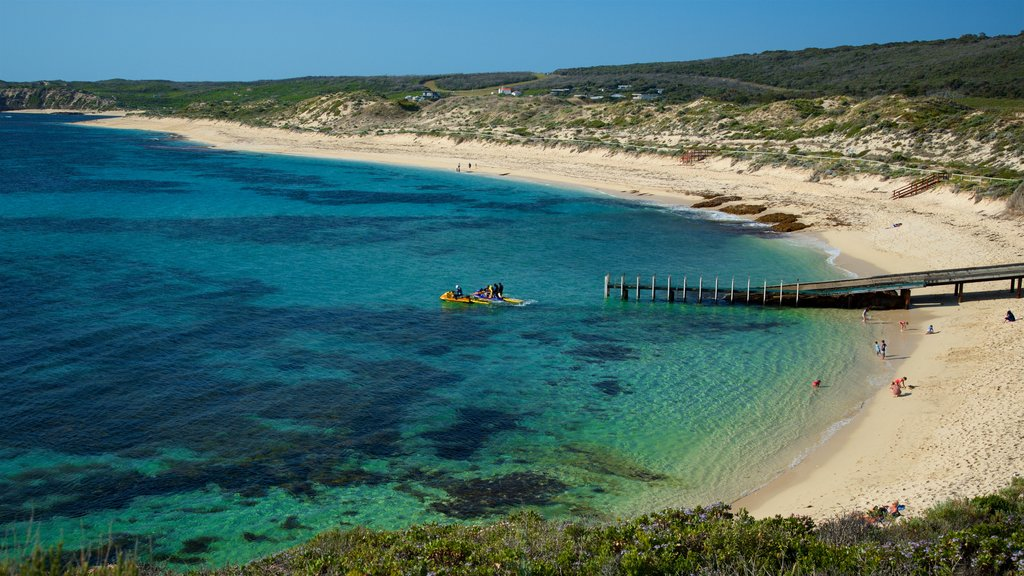 Western Australia showing a sandy beach, jet skiing and general coastal views